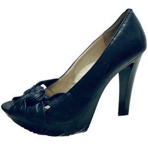 MICHAEL KORS | Braided Leather Peep Toe Pump Heel